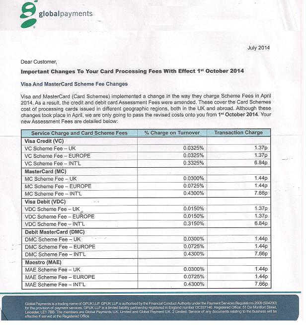 Global Payment Fee increases Oct 2014