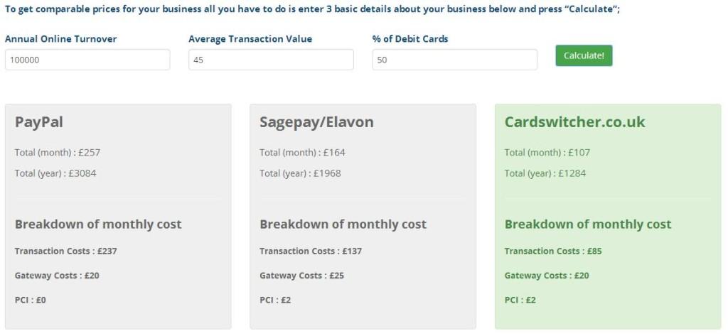 Paypal calculator screenshpot
