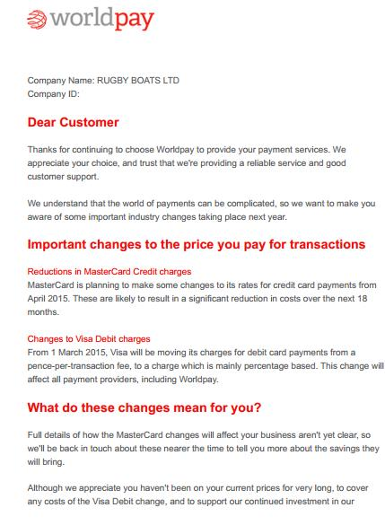 WorldPay fee increase letter 1