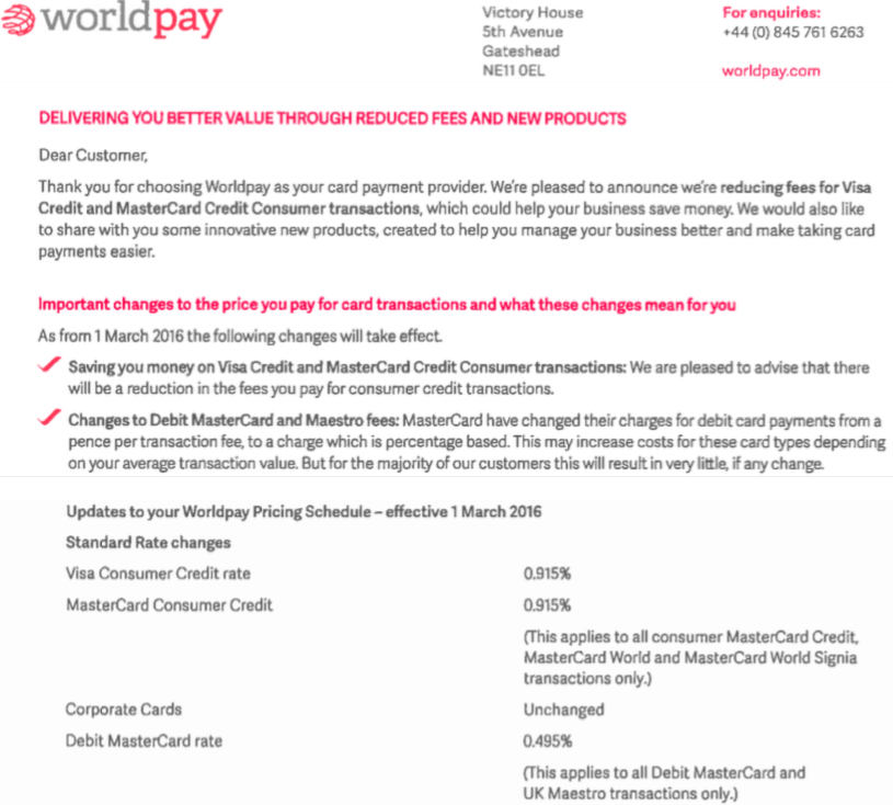 worldpay letter