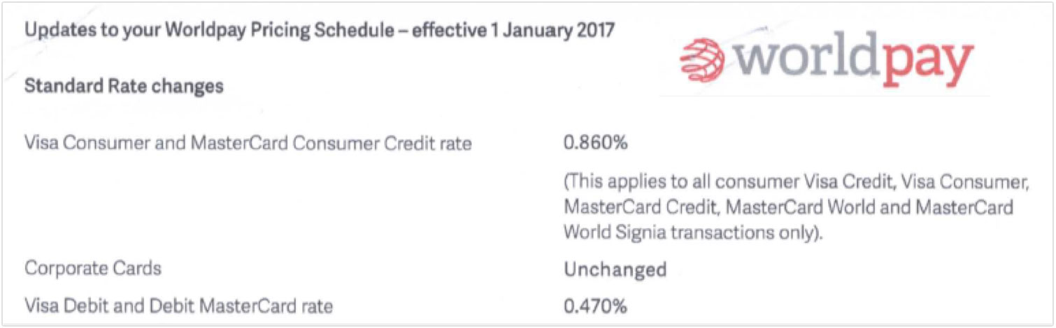 Worldpay fee increase January 2017
