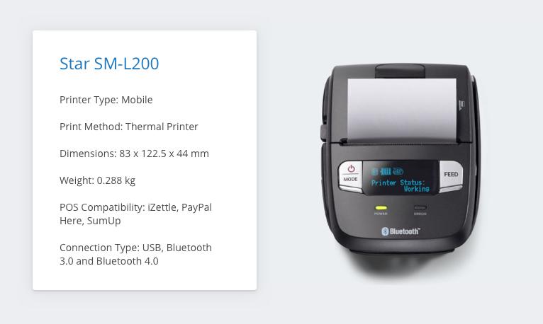 Star SM-L200 iZettle Receipt Printer